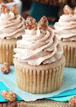 Cinnamon Sugar Almond Cupcakes close up