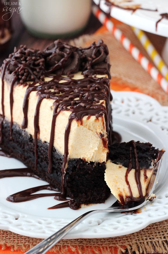 Pumpkin Chocolate Brownie Cheesecake