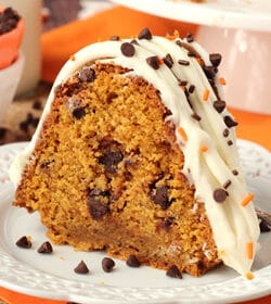 Pumpkin Chocolate Chip Bundt Cake on white plate
