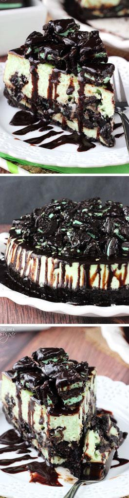 Mint Oreo Cheesecake collage