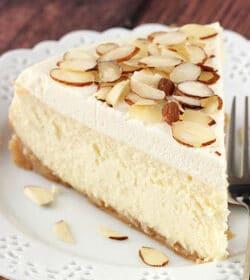 Amaretto Cheesecake slice on white plate