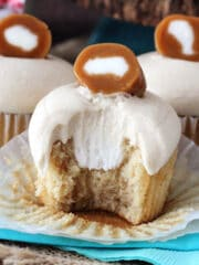 Caramel Cream Cupcakes with bite taken out