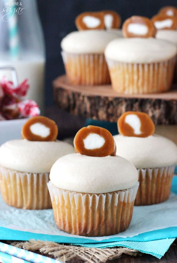 Caramel Cream Cupcakes - brown sugar cupcakes with caramel icing and cream filling! SO good!
