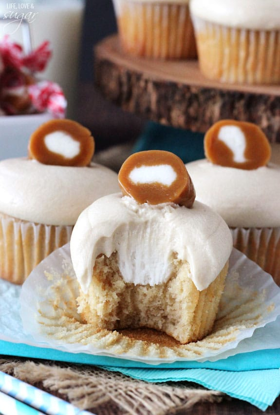 Caramel Cream Cupcakes - brown sugar cupcakes with caramel icing and cream filling! SO good!