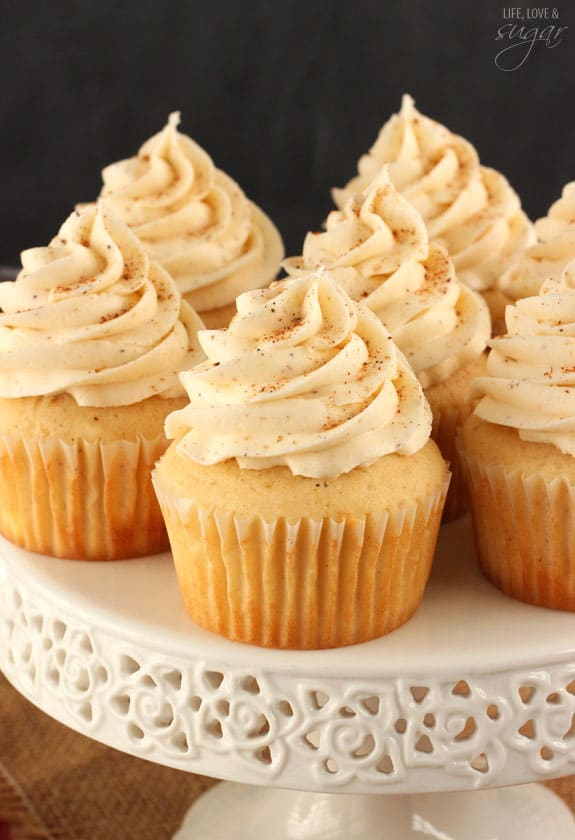 Eggnog Cupcakes! So moist and full of eggnog! Perfect for Christmas!