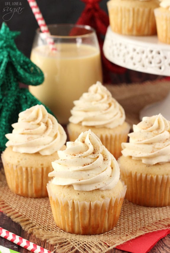 These Eggnog Cupcakes are full of awesome eggnog flavor! They've got ...