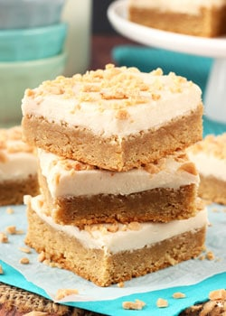 Frosted Maple Cookie Bars stacked
