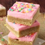 Frosted Sugar Cookie Bars pink frosting stacked