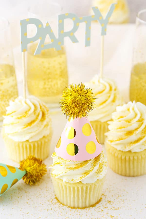 Champagne Cupcakes with party hats