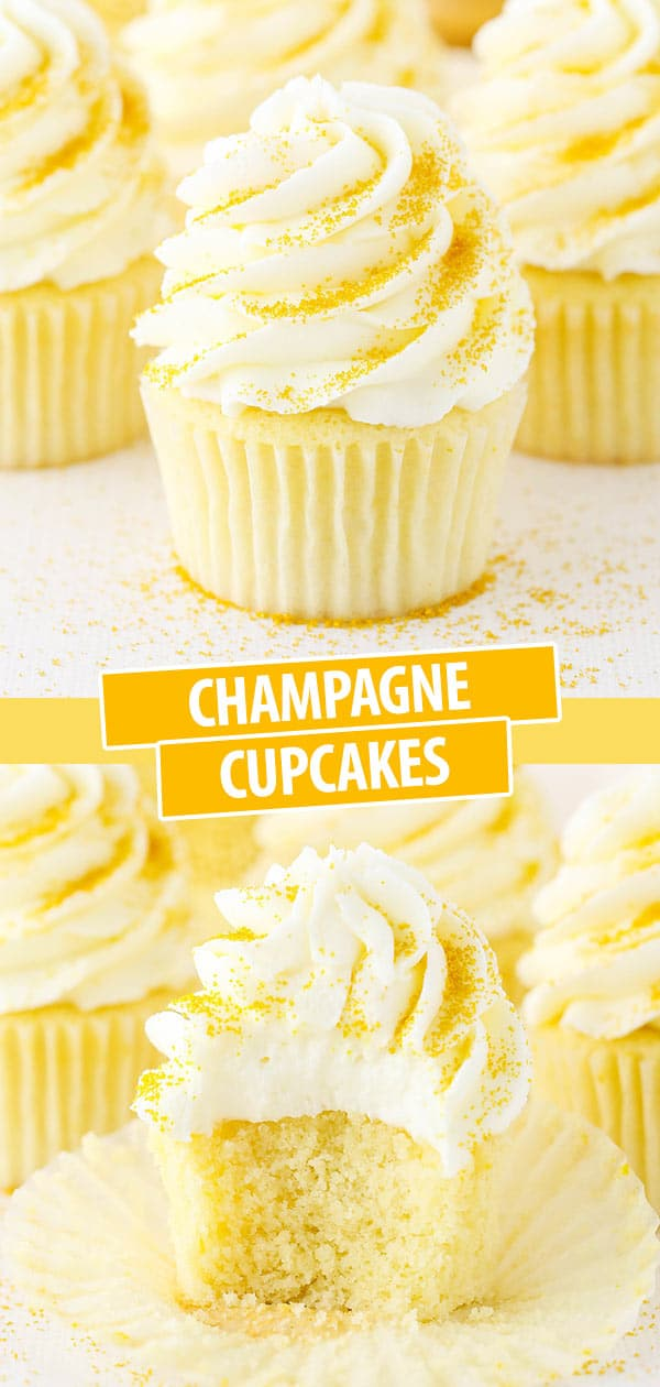 Pinterest image Champagne Cupcakes