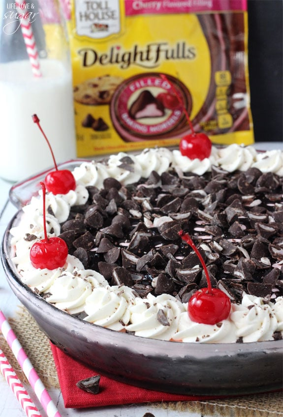 Chocolate Cherry Ice Cream Pie -  sweet, light cherry ice cream filled with Nestlé® Toll House® DelightFulls™ Baking Morsels! #TollHouseTime