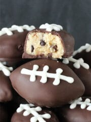 Chocolate Chip Cookie Dough Footballs with bite taken