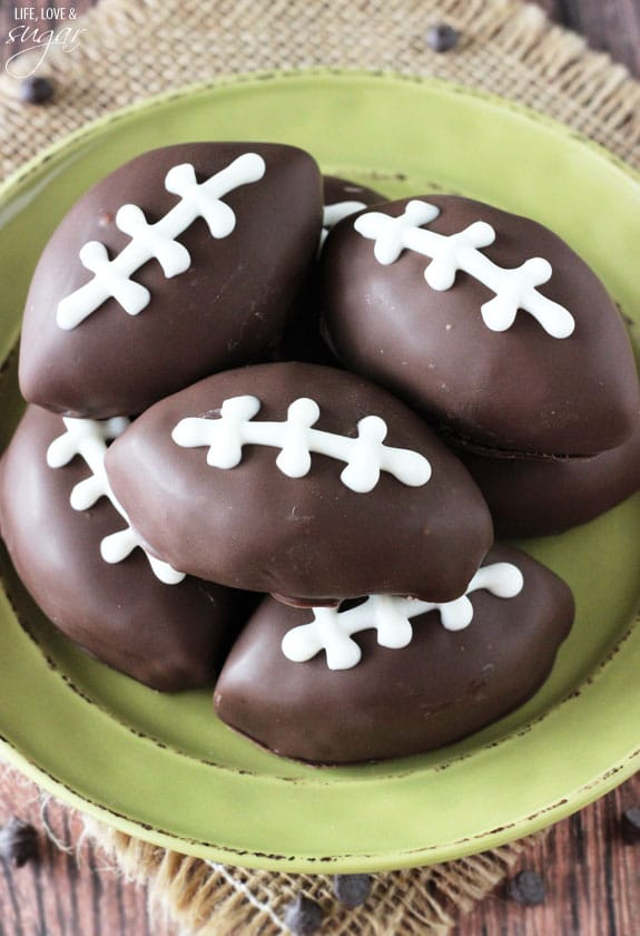 Eggless Chocolate Chip Cookie Dough Footballs on a green plate