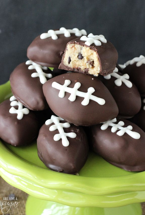 Eggless Cookie Dough Footballs - perfect for a Super Bowl Party and College Championship party!