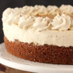Eggnog Spice Blondie Cheesecake on white stand