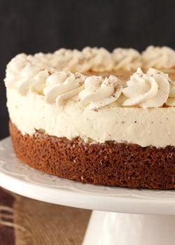 Eggnog Spice Blondie Cheesecake on white stand