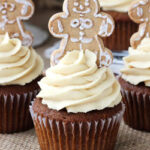 Gingerbread Cupcakes with Caramel Molasses Cream Cheese Icing on burlap