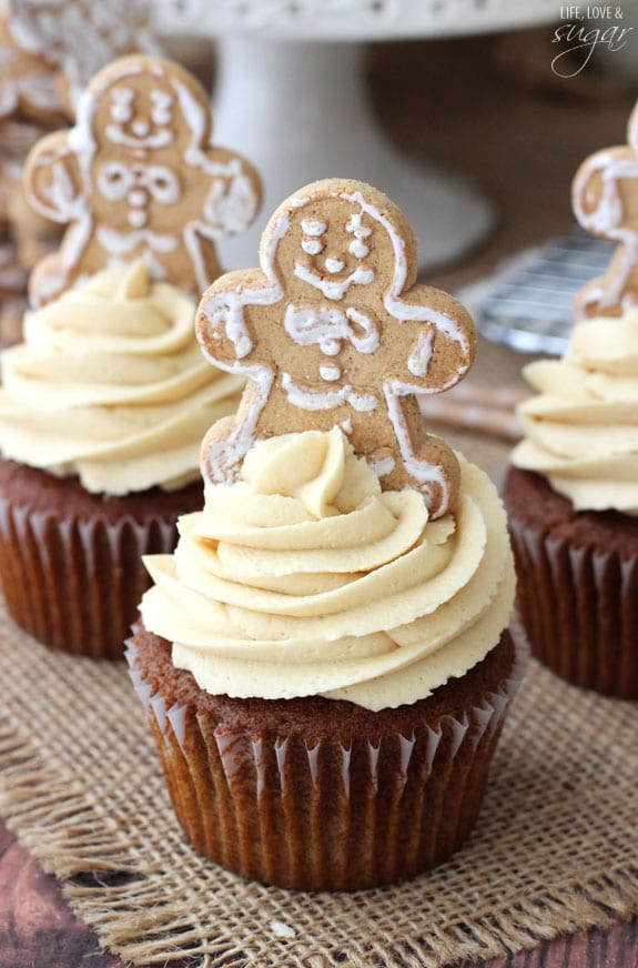 Gingerbread Cupcakes with Caramel Molasses Cream Cheese Icing - Life ...