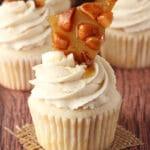 Baileys Macadamia Brittle Cupcake on burlap