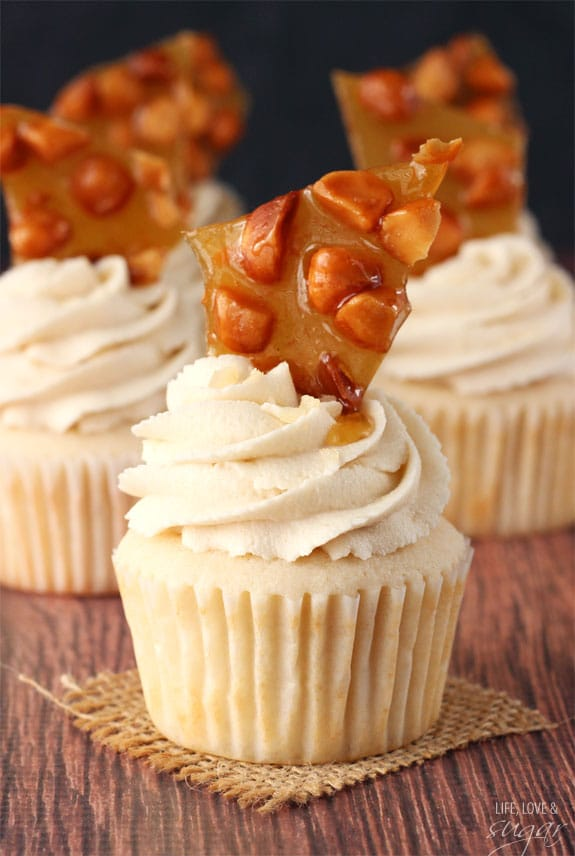 Close up of a Macadamia Brittle Cupcake on a square piece of burlap
