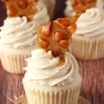 Baileys Macadamia Brittle Cupcakes close up
