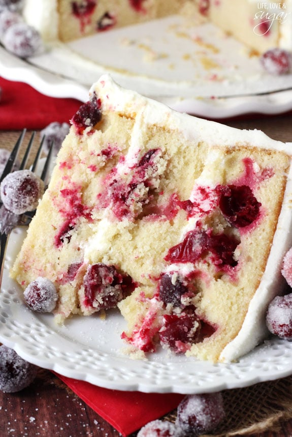 Sparkling Cranberry White Chocolate Cake - Life Love and Sugar