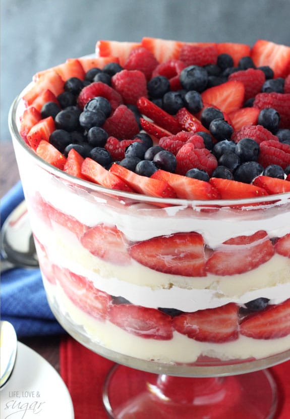Triple berry trifle life love and sugar triple berry trifle layers of whipped cream angel food cake cheesecake pudding and forumfinder Image collections