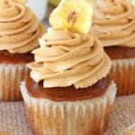 Banoffee Cupcakes on burlap close up