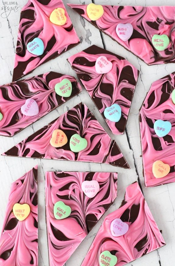 Conversation Heart Chocolate Bark - Life Love and Sugar