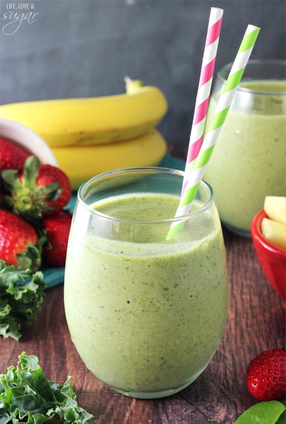 Green Smoothie - spinach, kale, pineapple, strawberry, and bananas with a little almond milk and greek yogurt - so good!