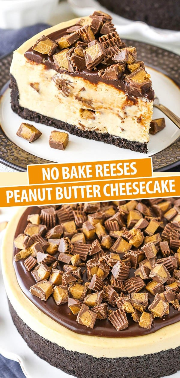 Pinterest image No Bake Peanut Butter Cheesecake