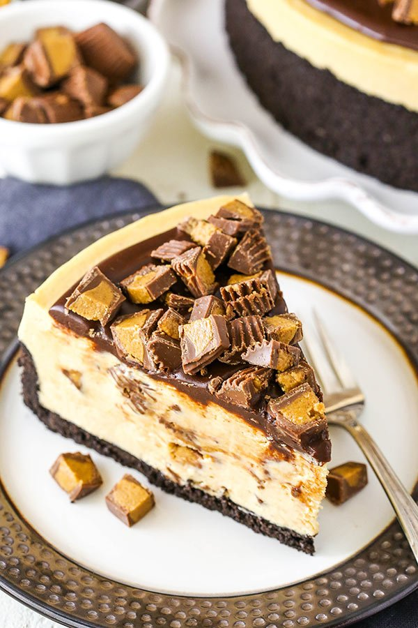 No Bake Reese's Peanut Butter Cheesecake slice overhead view