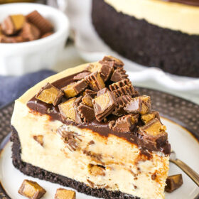 Slice of No Bake Reese's Peanut Butter Cheesecake