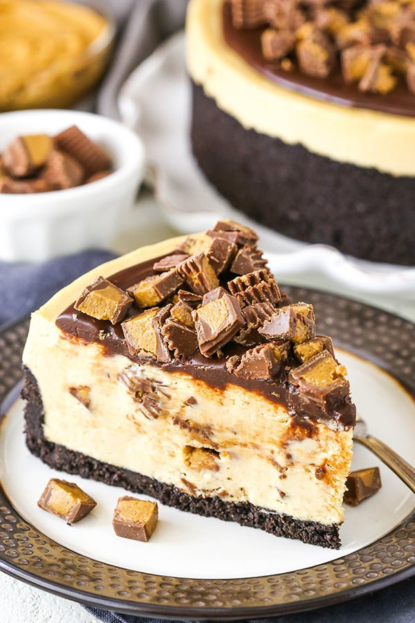 No Bake Reese's Peanut Butter Cheesecake slice on plate