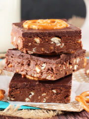 No Bake Nutella Pretzel Bars stacked