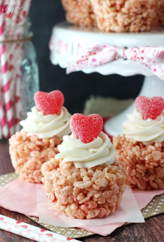 Valentines day rice krispie treat cupcakes life love and sugar valentines day rice krispie treat cupcakes strawberry cake batter rice kris pie treat topped with ccuart Choice Image