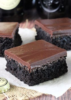 Close-up of Guinness Chocolate Brownies on a napkin