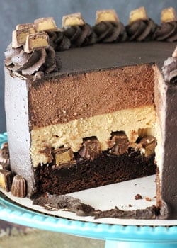 Peanut Butter Chocolate Mousse Cake with slice missing