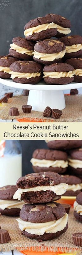 Reese's Peanut Butter Chocolate Cookie Sandwiches photo collage
