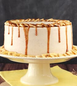 Banana Fosters Layer Cake on yellow stand