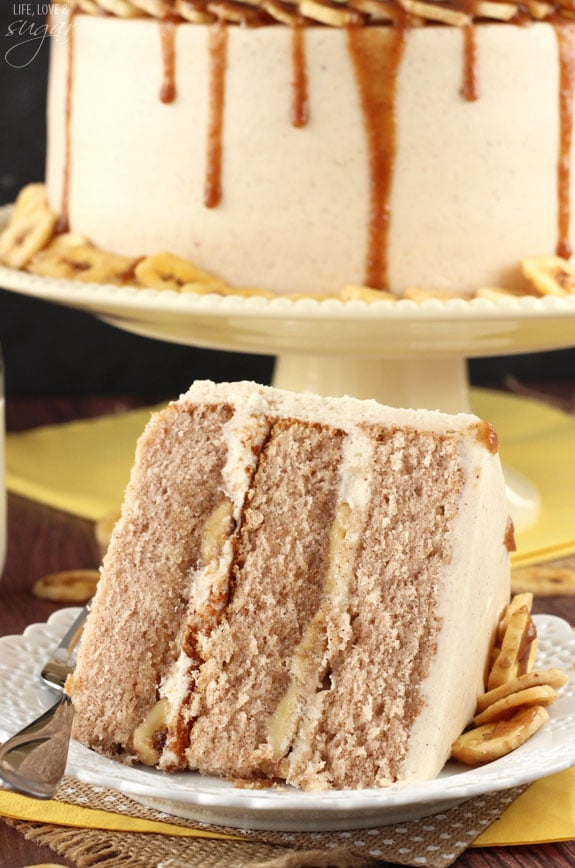 Bananas Foster Layer Cake - this cake is full of cinnamon, bananas and rum sauce! So good!