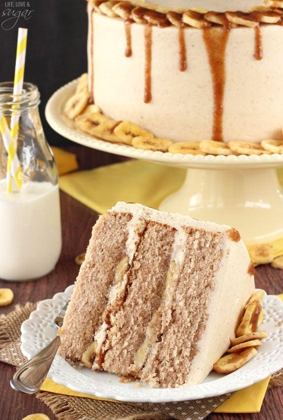 Bananas Foster Layer Cake - this cake is full of cinnamon, bananas and rum sauce! So good!