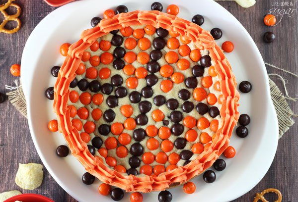 Overhead view of M&M Basketball Chocolate Chip Cookie Cake