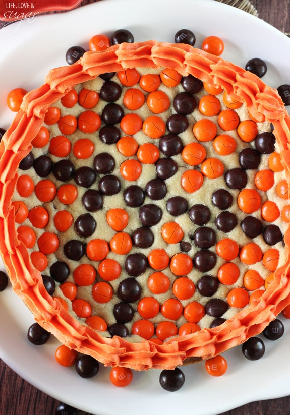 M&M Basketball Chocolate Chip Cookie Cake overhead view