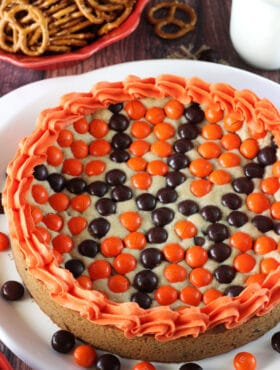 M&M Basketball Chocolate Chip Cookie Cake overhead view close up