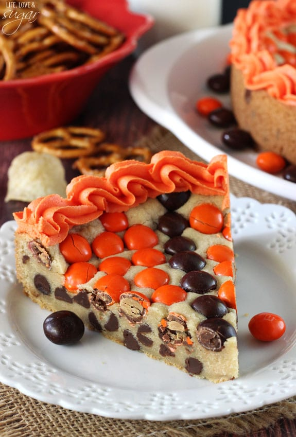 M&M Basketball Chocolate Chip Cookie Cake slice on a plate