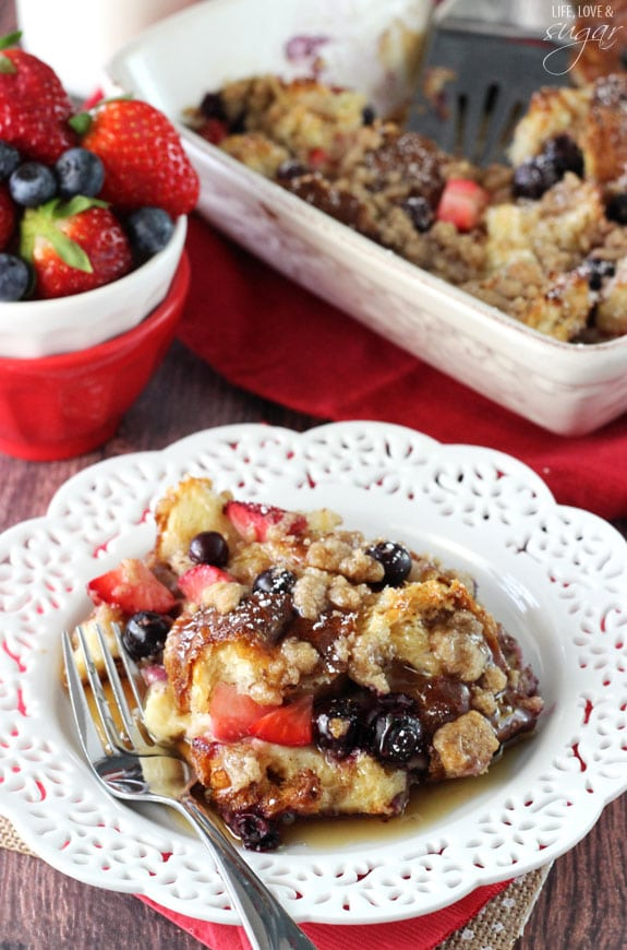 Strawberry and Blueberry French Toast Casserole - the perfect breakfast for Easter morning! Uses my favorite Kings Hawaiian Sweet bread!