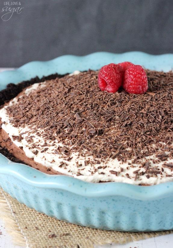 Chocolate Truffle Pie in a blue pie plate