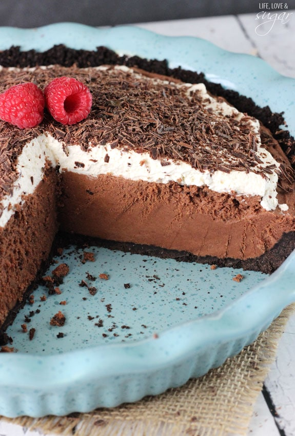 Chocolate Truffle Pie with a couple slices removed