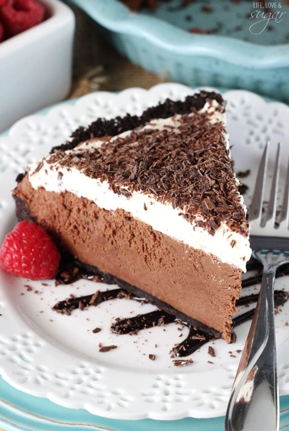 Chocolate Truffle Pie slice on a white plate